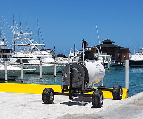 A mobile pump out system for a marina. Pumps out bilge waste and septic.